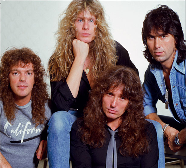 Whitesnake (1984) (L-R): Neil Murray (bass), John Sykes (guitar), Cozy Powell (drums)  Front: David Coverdale (vocals)