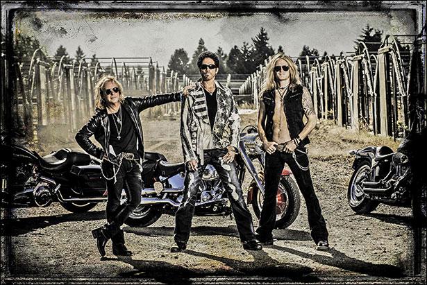 Revolution Saints (L-R): Jack Blades (bass, vocals), Deen Castronovo (lead vocals, drums), Doug Aldrich (guitar). Photo Credit: © Jeff Allen at Orion's Eye Photography