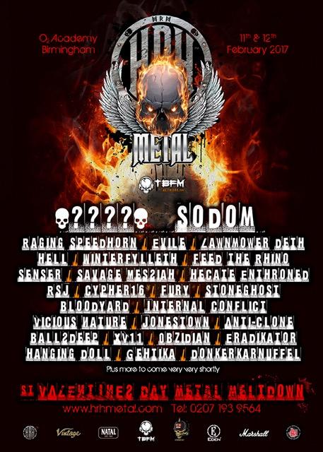 Sodom, Raging Speedhorn & More Announced For HRH:Metal