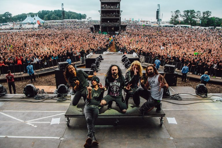"""Frédéric Leclercq of DragonForce at Download 2018 """"We're working on a new album that we're releasing next year"""""""